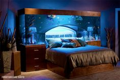 Tanked Aquarium Bed - aquarium bedhead you could go to sleep watching the fishies