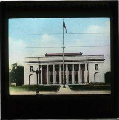 A hand-coloured photographic lantern slide of the United States Post Office and Court House, Charlotte, North Carolina. Date: Century. Post Office, Pathways, North Carolina, Lantern, Entrance, Buildings, Charlotte, United States, House