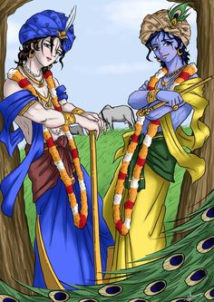 Lord Sri Krsna and Sri Balarama Anime style by nairarun15.deviantart.com on @deviantART