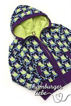 "Zipper hoodie made from ""Uhu Schuhu"" fabric"