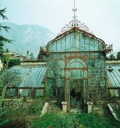 Ancient conservatory glass greenhouse