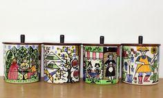 a set of 4 Anita Nylund storage jars for Jie Gantofta 60s Swedish studio pottery