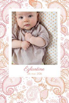 Faire part naissance Paisley portrait par Mr & Mrs Clynk pour www.fairepartnaissance.fr #rosemood