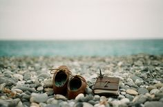 shoes. book. sea