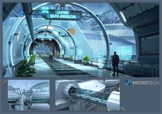 Star Citizen_MicroTech Bridgeway, Ken Fairclough on ArtStation at Spaceship Interior, Futuristic Interior, Futuristic City, Futuristic Design, Futuristic Architecture, Star Citizen, Cyberpunk, Sci Fi Stadt, Sci Fi City