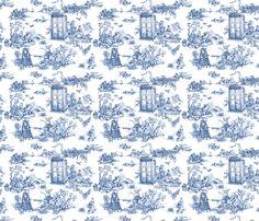 Dr Who Toile de Jouy blue fabric by debi_birkin on Spoonflower - custom fabric