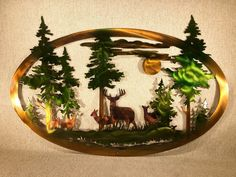 Excited to share this item from my #etsy shop: Whitetail Deer Or Bear And Mountains With Trees Indoor Or Outdoor Wildlife Metal Wall Art Outdoor Metal Wall Art, Metal Tree Wall Art, Metal Artwork, Mountain Cabin Decor, Mountain Cabins, Mountain Homes, Log Cabins, White Tail, Oval Frame