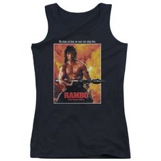 """Checkout our #LicensedGear products FREE SHIPPING + 10% OFF Coupon Code """"Official"""" Rambo: First Blood Ii / Poster - Juniors Tank Top - Rambo: First Blood Ii / Poster - Juniors Tank Top - Price: $29.99. Buy now at https://officiallylicensedgear.com/rambo-first-blood-ii-poster-juniors-tank-top"""
