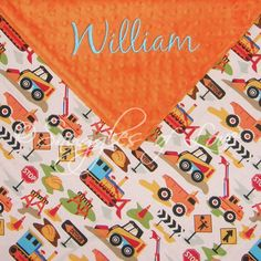 Boys Baby Blanket - Construction Trucks - INCLUDES EMBROIDERY - Orange, Turquoise Blue, Chocolate. $38.00, via Etsy.