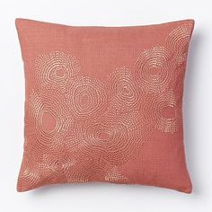 Embroidered Wavelet Pillow Cover - Rose Bisque