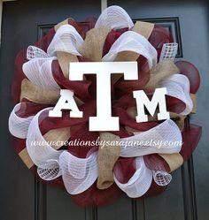 Texas A Mesh Wreath with Burlap - Mesh Aggie Wreath on Etsy, $80.00