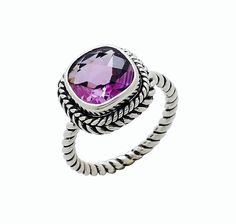 Samuel B. 10mm Cushion cut Amethyst Checkerboard Cut Gemstone Sterling Silver Ring, Ring has an oxidized finish Nickel free  Country of Origin: India