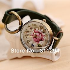 Free Shipping Vintage Euro Style Bronze Rose Flower Design Dress Watches Bracelet Watch Woman Wristwatches JW147 $5.99