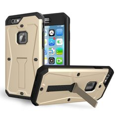 iPhone 6S Plus / iPhone 6 Plus Case (5.5),DIOS CASE(TM) Heavy Duty 3 in 1 Ultra Combat Armor Built-in Screen Protector Kickstand Bumper MILITARY DEFENDER Full-body Rugged Cover for Plus 5.5 (Gold) *** Click on the image for additional details.