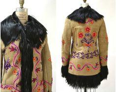 Details about Fabulous Vintage Afghan Hippy Embroidered Sheepskin ...