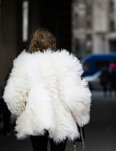 big fuzzy white coat