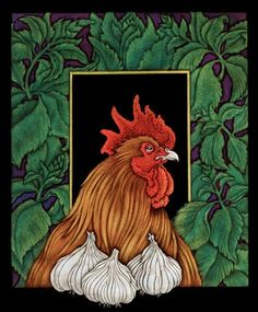 Chicken with Garlic and Basil  This print shows how Mitchell relishes in the patterns that occur in the nature. Within the proportional confines of a sheet of paper, the fractal shapes and structures of nature can be set like jewels into the Euclidian geometry of architecture or the swirling decorative motifs of an art nouveau backdrop. Mitchell often embraces her tendency towards dark humor, melding that with the more decorative aspects of her work. Note: as with most prints, dimens..