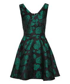 Iska London Green Floral Jacquard A-Line Dress | zulily