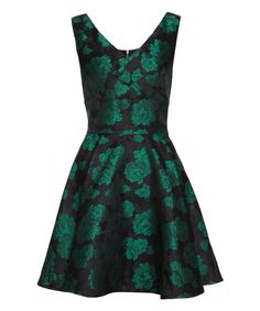 Iska London Green Floral Jacquard A-Line Dress | zulily