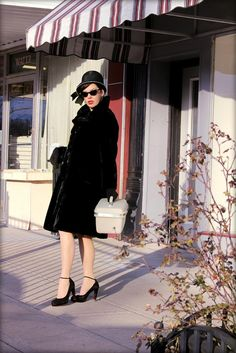 VINTAGE Black FAUX FUR coat large winter coat high by CedarBelle