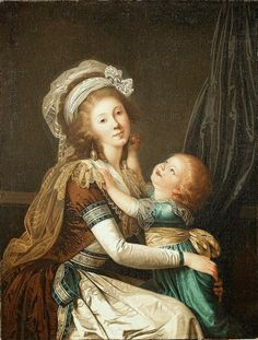 Portrait of a Lady with her Son (c. 1792) attributed to Adolf Ulrik Wertmuller. The detailing on the gown is gorgeous