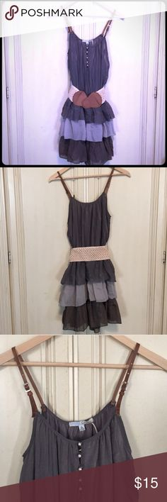 Layered Boho Dress 3 tone layered dress (light, medium and dark grey) - Leather adjustable straps -  pearl closures in the front.  Dress can be worn with or without a belt.....NWT....size Medium Cecico Dresses