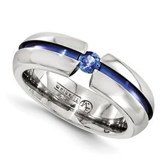 Mens Titanium and Blue Sapphire Brushed Ridged Wedding Band Ring Comfort fit 6mm wide. Match any engagement ring ~ sizes 5-15