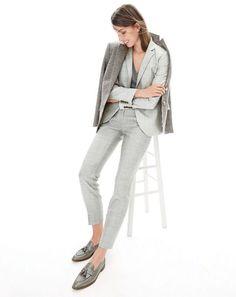 DEC '15 Style Guide: J.Crew women's Campbell blazer, Rhodes blazer in puppytooth, Collection cashmere boyfriend V-neck sweater, Paley pant and Biella tassel loafers.