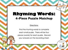Countdown to Christmas Day 1 freebie - Rhyming Words Puzzle Matchup (students will find the rhyming word matches and record them on the recording sheet; answer key included)