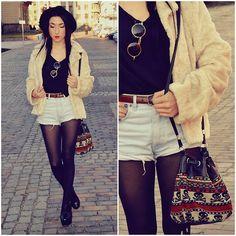Tights + Shorts + Furry Coat