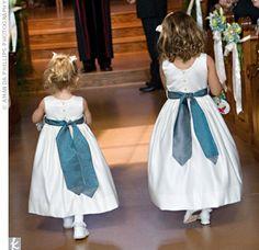 Flower girl dresses with royal blue sash