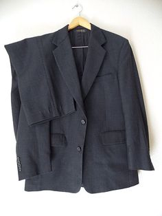Ending Today!! Brooks Brothers Wool Suit Size 42 Navy Blue Mens Plaid Costume 2 Button Jacket #BrooksBrothers #TwoButton