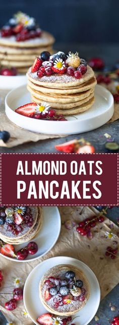 The Softest Almond Oats Pancakes are super easy to make, right in your food processor. Super soft, delicious and dairy-free! via @vibrantplate
