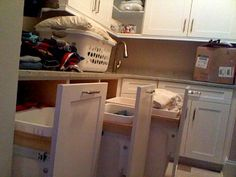 mydreamhome posted this on Gardenweb.  She used pull-out trash cans...ingenious!
