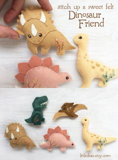 Cute felt dinosaurs make the perfect tree ornaments! Stitch up a menagerie for everyone on your list with this easy PDF felt sewing pattern from little dear. Felt Animal Patterns, Felt Crafts Patterns, Felt Crafts Diy, Felt Diy, Fabric Crafts, Sewing Crafts, Fun Crafts, Baby Ballon, Dinosaur Ornament