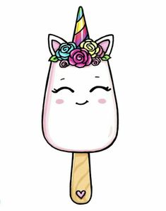 unicorn drawing easy step by step . unicorn drawing easy for kids . Kawaii Girl Drawings, Cute Food Drawings, Cute Animal Drawings Kawaii, Cute Little Drawings, Cute Cartoon Drawings, Cool Art Drawings, Disney Drawings, Food Drawing Easy, Simple Cute Drawings