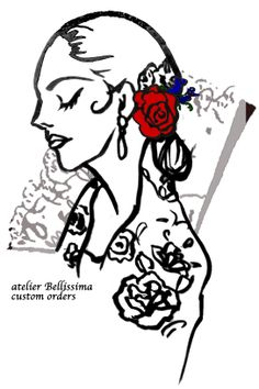 My drawings for advertise my Flamenco costumes.  atelier Bellissima http://www.atelierbellissima.com/
