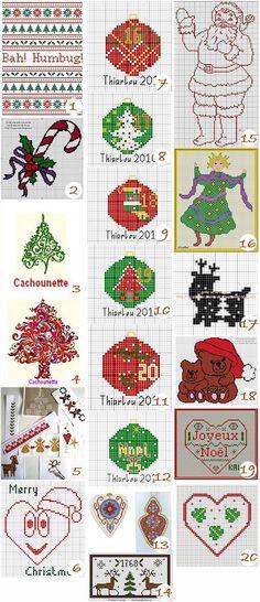 (1) Bah! Humbug! Christmas Subversive Sampler from Kincavel Krosses (2) Sucre d'Orge from Le blog de Les broderies de vayou (3) Sapin douceur from Cachounette (4) Sapin aux deux couleurs from…