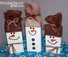 Snowmen Set of 3/Christmas and Holiday Decoration/Wooden Snowman Set
