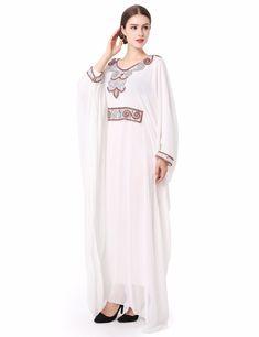 bbfc00304d005 embroidery long sleeve muslim dress gown Dubai moroccan Kaftan clothing  Caftan Islamic women Abaya Turkish arabic dress LF 14-in Islamic Clothing  from ...