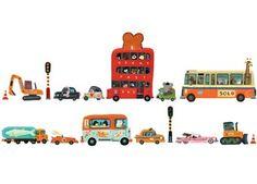 stoere muurstickers 'voertuigen' DJECO | kinderen-shop Kleine Zebra
