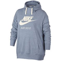 Nike Plus Size Gym Vintage Hoodie ($60) ❤ liked on Polyvore featuring plus size women's fashion, plus size clothing, plus size tops, plus size hoodies, hoodies, women's plus size hooded sweatshirts, womens plus tops, blue hooded sweatshirt and blue hoodie