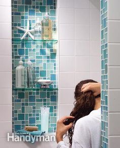 Tile a Shower: Alcove An alcove is the perfect spot for shampoos, conditioners and soaps.  http://www.familyhandyman.com/tiling/tile-installation/tile-a-shower/view-all