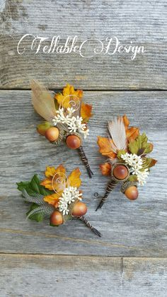 Fall wedding Oak Leaf and Acorn Wedding Boutonniere Autumn Wedding Boutonnieres
