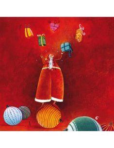 "Carte carrée Marie Cardouat ""Père-Noël jongleur"" Christmas Fun, Christmas Cards, Christmas Ornaments, Marie Cardouat, Art Carte, Square Card, Illustration Art, Illustrations, Cool Art"