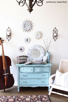 I want to repaint our older chest dresser a similar color to this one!!