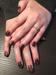 Autumn Wedding Nails With Glitter And Maple Leaves Calgel Extensions
