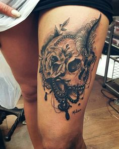 Sake tattoo design  #skulltattoo #thightattoo #tattoo #tattoos #tattooed #inked #inkedgirls #tattooedgirls