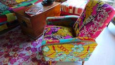 re-upholstered chair using kantha quilts.