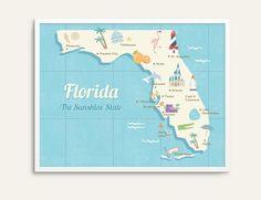 State map poster Florida state print retro map by illuartco Florida, Desert Art, Map Wall Art, State Map, Retro, Illustration Art, Visual Resume, Room Art, Poster